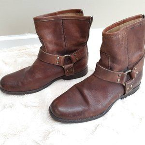 FRYE brown leather harness boots / moto booties